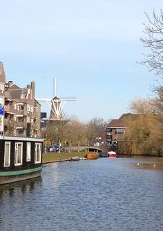 Canals run through almost all major cities in the Netherlands. Here is one in Leiden, Zuid Holland.