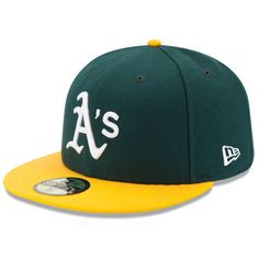 san francisco 518af 0a4dd Men s New Era Green Yellow Oakland Athletics Home Authentic Collection  On-Field 59FIFTY Fitted Hat