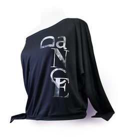 Long Sleeve Flowy Dance Top - Black.  Flowy dancewear top for ballet, jazz, or tap dancers. Wear this dance top to class or rehearsal.