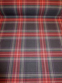 Red and Charcoal Gray Tartan Plaid Wool Bled Fabric--One Yard