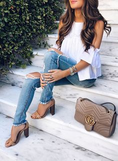 #spring #outfits  White Cold Shoulder Blouse + Destroyed Skinny  Jeans + Nude Sandals