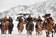 Eagle hunters in the Altai Mountains, Mongolia