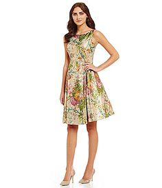 Adrianna Papell FitandFlare Metallic Brocade Midi Dress #Dillards