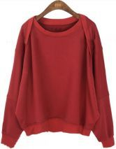 Red Batwing Long Sleeve Loose Pullovers Sweatshirt $36.48