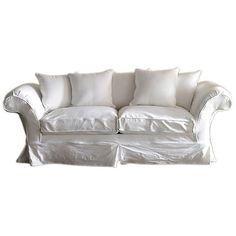 """Shabby Chic Grace 97"""" Slipcovered Sofa White Sofas & Loveseats (€2.240) ❤ liked on Polyvore featuring home, furniture, sofas, sofa, seating, white, white loveseat, white slipcover loveseat, slip cover couch and white sofa"""
