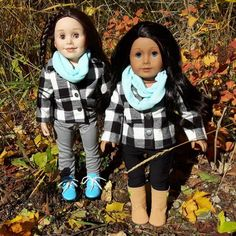 Playing in the Autumn leaves, beautiful sunshine & crispness in the air. It's time for leggings, scarves & plaid jackets. Flannel Jacket, Plaid Scarf, Brown Bird, Girl Doll Clothes, 18 Inch Doll, Top Stitching, Fabric Dolls, Buffalo Plaid, Autumn Leaves