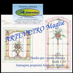 Disegni per vetrate artistiche pannello divisorio - anta scorrevole fiori