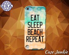 Eat Sleep Beach Repeat Quote Summer Ocean Cute Tumblr Custom Case For iPod Touch…