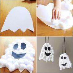 comment fabriquer des fantômes dhalloween en coton et en papier pour les suspendre, bricolage halloween maternelle pour réaliser une déco thématique facile et originale #bricolagefacilemaison