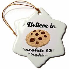 >> New offers awaiting you : 3dRose orn_105030_1 I Believe in Chocolate Chip Cookies Snowflake Ornament, Porcelain, 3-Inch at Christmas Home Decor .