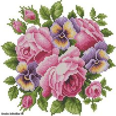 Roses And Violets dial plate housewarm gift idea DIY bead embroidery Cross Stitch Rose, Cross Stitch Flowers, Cross Stitch Charts, Cross Stitch Designs, Cross Stitch Patterns, Diy Bead Embroidery, Rose Embroidery, Embroidery Kits, Cross Stitch Embroidery