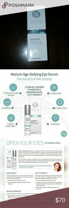Nerium Eye Serum Nerium International's NEWEST product! Eye serum provides immediate and long term results for dark circles, puffiness and fine lines around the eye. This product retails for $80 plus taxes and shipping! Order it here for less and don't pay taxes!  For more product information visit www.rhalioua.realresults.com or www.rhalioua.nerium.com Nerium International Makeup