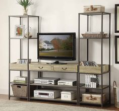Modern industrial styling is perfectly achieved in the Rumi Collection. Flanking the functional TV stand, the shelving units in this home accent offering feature traditional display shelving along with a unique tray style unit. Industrial Entertainment Center, Diy Entertainment Center, Entertainment Units, Corner Light, Farmhouse Tv Stand, Farmhouse Decor, Tv Stand Designs, Family Room Design, Living Room Tv