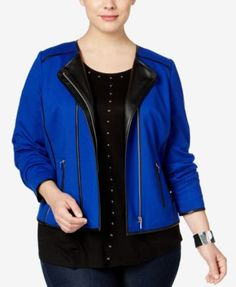 INC International Concepts Plus Size Piped Moto Jacket, Only at Macy's | macys.com