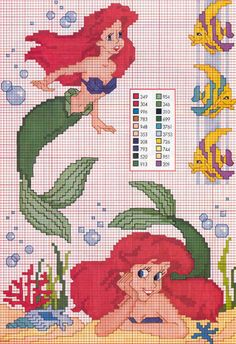 more Little Mermaid cross stitch patterns on page Disney Cross Stitch Patterns, Cross Stitch For Kids, Cross Stitch Love, Beaded Cross Stitch, Cross Stitch Charts, Cross Stitch Designs, Cross Stitch Embroidery, Embroidery Patterns, Disney Stitch