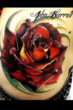 Rose done by John Barrett     Usually at Black Swan Tattoo in Lakeland, Florida    right now he is in PA,  Holy fuck