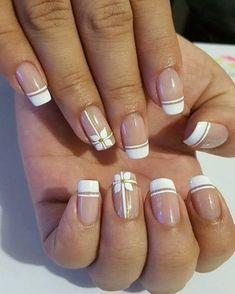 69 Ideas for fails art facile french Brown Nails, White Nails, Nail Manicure, Diy Nails, Manicure Natural, Nail Deco, Colour Tip Nails, Homecoming Nails, Fall Nail Colors