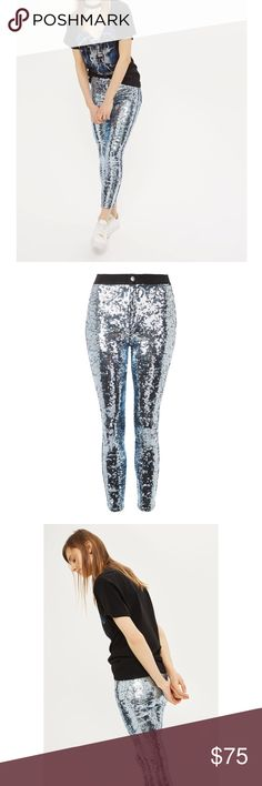 Topshop NWOT All Sequined Joni Jeans Black Joni jeans by Topshop covered almost completely in sequins, except for the waist band. Perfect for the holidays and especially New Years! W30, L30. Topshop Jeans Skinny