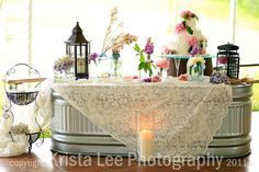 like the water trough table idea. reminds me of growing up! Love the lanterns too!