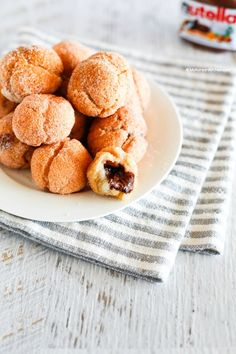 Nutella Stuffed Sweet Rice Flour Doughnut Holes - Outside is crunchy but inside is sticky like mochi rice cakes and gooey!   MyKoreanKitchen.com