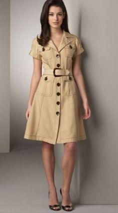 Safari Outfits, Safari Dress, Safari Shirt, Work Dresses For Women, Dress For Short Women, Clothes For Women, Women's Fashion Dresses, Skirt Fashion, Dress Outfits