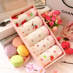 """Sweet strawberry cherry floral briefs gift box SE10567      Coupon code """"cutekawaii"""" for 10% off"""