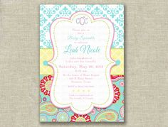 turquoise baby shower | Baby Shower Girl Invitation Invite French Paisley by girlsatplay