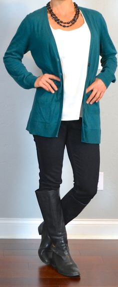 Outfit Posts: outfit post: teal boyfriend cardigan, white tank, black skinny jeans, black riding boots
