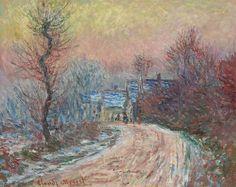 Entrée de Giverny en hiver, soleil couchant (C Monet - W 966),1885.