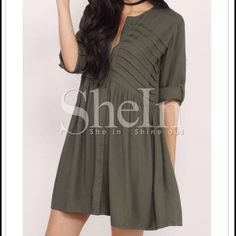 Long sleeve dress! Polyester button-up shift dress Shein Dresses Long Sleeve