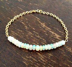 Opal Bracelet - Gold Jewellery - Ethiopian Opal Jewelry - October Birthstone on Etsy, $185.00