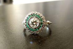 Vintage Art Deco Platinum Diamond Emerald Engagement Ring via Etsy.