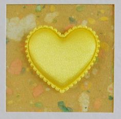 I Love You Card, blank, wedding, engagement, anniversary, birthday, yellow heart on yellow, contemporary, modern, with envelope, no message - pinned by pin4etsy.com