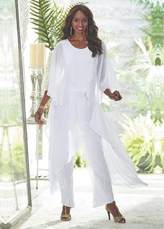 Bridesfamily Virtuous Pant Suits Chiffon Jewel Neckline Mother Of The Bride Dresses - Wedding dresses - Bride Mother Of The Groom Trousers, Mother Of The Bride Suits, White Pantsuit, White Dress Pants, Black Pants, Mothers Dresses, Bride Dresses, Chiffon Dresses, Long Dresses