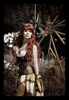 red haired steampunk character