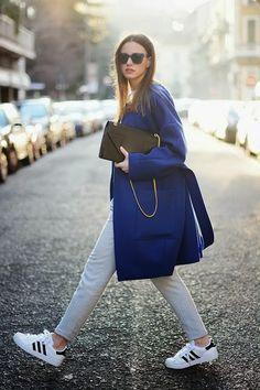 white adidas grand prix + blue coat