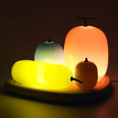 This bowl of candy-coloured glass fruits is a lamp by Japanese designer Hisakazu Shimizu of S Design.