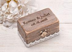Rustic Wedding Ring Box, Personalized Ring Box, Rustic Ring Pillow, Wedding Ring Holder, Ring Bearer Box, Burlap Shabby Chic Ring Holder by HandmadeDecoupage on Etsy
