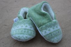 Light Green Fair Isle Baby Booties Upcycled Wool