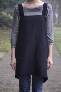 NAVY Good Life Apron Adult 100% natural linen by DandyStitch