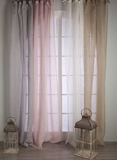 Rideau voile de lin Blanc Mariclo Cute Curtains, Hanging Curtains, Shear Curtains, Cortinas Boho, Ethnic Decor, Curtain Designs, Fashion Room, Window Coverings, Home Bedroom