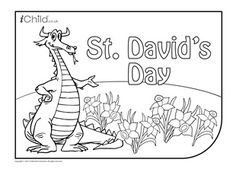 Find hundreds of free colouring in printable pages at iChild including this St. David's Day colouring in picture! Plus more fun activities for kids. St Gorge, Welsh Words, St David, Monkey Crafts, Saint David's Day, St Georges Day, Cultural Crafts, Love Spoons, Saints Days