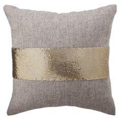 Nate Berkus Mesh and Tweed Toss Pillow - Gold (16x16)