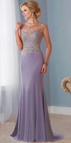 02c5a10086dd  123.19  Beautiful Tulle   Spandex Bateau Neckline Cap Sleeves  Sheath Column Mother Of The Bride Dresses With Beadings   Embroidery