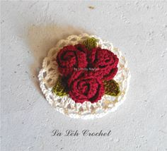 """Crochet Pattern: Digital Download """"Corsage Rose and Mini Doily""""; crochet brooch, applique, accessories, pdf. by LaLehCrochet on Etsy"""