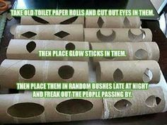 Paint the rolls black except inside behind the eyes and around the outer part of eyes then hang them from trees. Spooky fun!