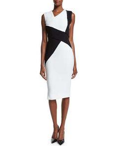 Sleeveless Asymmetric Colorblock Sheath Dress, Black/White by Victoria Beckham at Neiman Marcus.