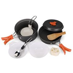 Flexzion Camping Cookware Mess Kit Compact Hiking Cooking Gear Set For Outdoors Backpacking Campfire Lightweight Portable Non Stick Pot Pan With Utensils Nylon Bag Accessories Black ** Continue to the product at the image link. (This is an affiliate link) Camping Gear, Camping Hacks, Backpacking, Family Camping, Kitchen Sale, Kitchen Ideas, Emergency Preparedness, Survival Gear, Survival Guide