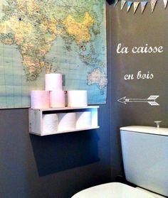 étagère pour le papoer toilettes dans les WC du bas