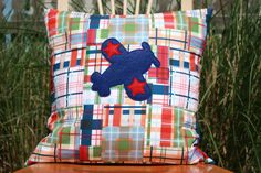 Baby Boy Nursery!!!  Patchwork Plaid Pillow Cover with Airplane by nest2impress on Etsy,